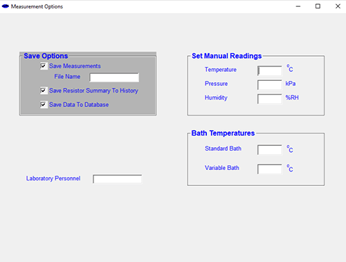 Measurement Options Computer Screenshot